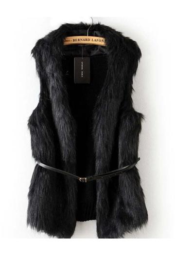 Faux Fur Black Knitting Back Waistcoat [FEBK0500]- US$ 33.99 - PersunMall.com