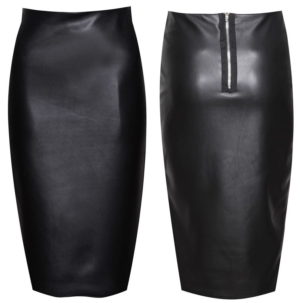 Womens Ladies Faux Leather High Waisted Wet Look Bodycon Pencil Skirt Sizes 8-14 | eBay