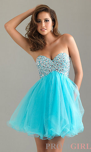 Strapless Homecoming Dress, Night Moves Party Dresses- PromGirl