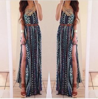 long dress summer dress summer outfits tribal pattern tribal print dress belted dress belted maxi dress maxi dress jewels dress