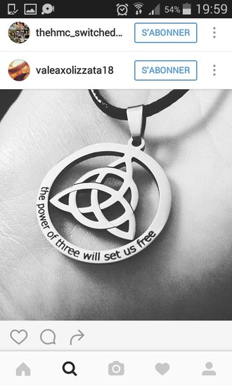 jewels pendant pendantif collier charmed sorcière witch witchcraft wicca wiccan power power of three will set us free symbol necklace triquetra