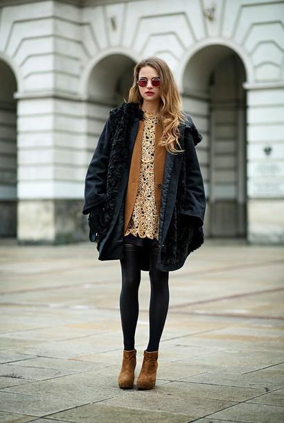 madame julietta blogger dress round sunglasses black coat gold crochet brown leather boots rust