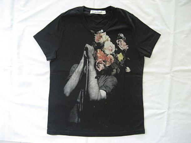 joy division black t-shirt flowers t-shirt