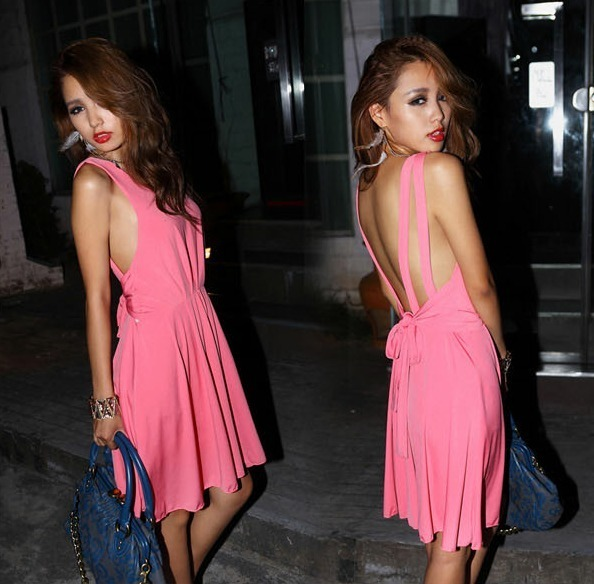 New 2014 Womens Gorgeous Club Wear Girl Lady Party Evening Halter Dress Solid Color Sexy Backless Dress Black Pink Free Shipping-inDresses from Apparel & Accessories on Aliexpress.com