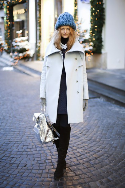white rabbit dreams blogger gloves knitted beanie winter coat silver backpack hat coat jewels skirt shoes mini backpack