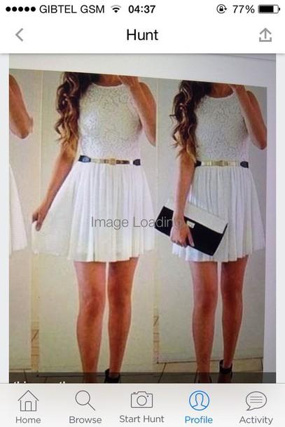 dress white dress lace up mini dress bag gold