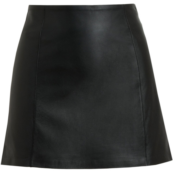 T BY ALEXANDER WANG Black Leather Miniskirt - Polyvore