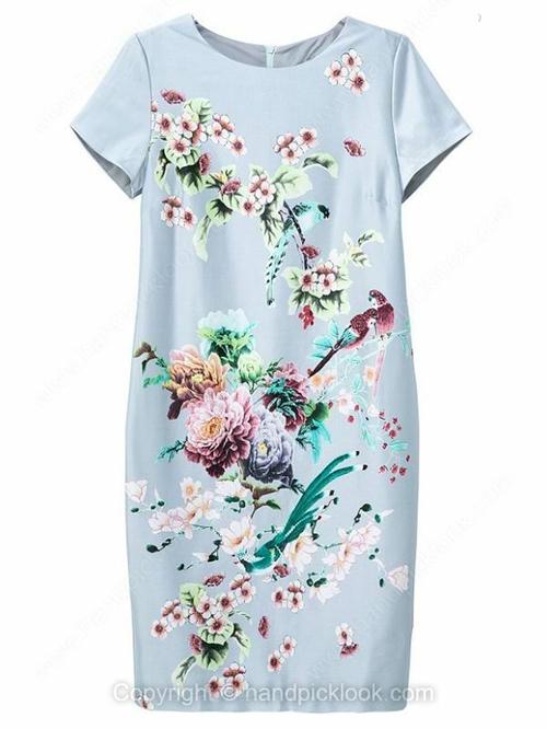 Blue Round Neck Short Sleeve Flowers & Birds Print Dress - HandpickLook.com