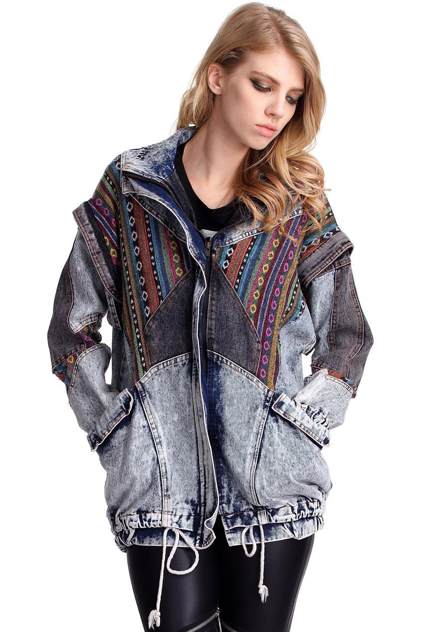 ROMWE   Oversized Aztec Denim Coat, The Latest Street Fashion