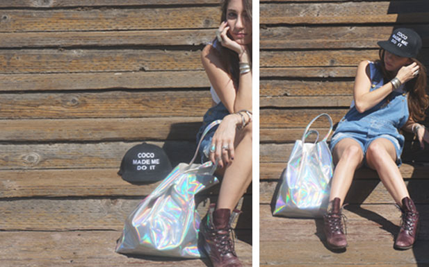 bg8 Celebrity Style Trendy Hologram Metallic Silver Oversized Shopping Tote Bag | eBay