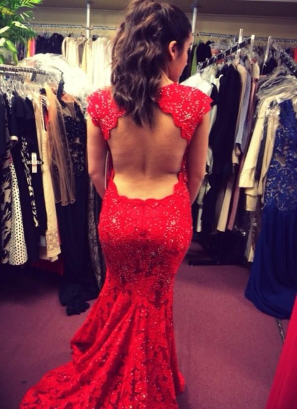 dress red dress backless prom dress long prom dress sparkly dress mermaid prom dress