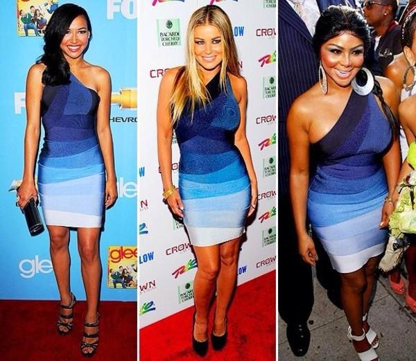 dress carmen electra herve leger blue bandage dress