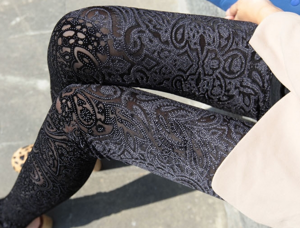 Spring New Women's Pants Leggings Laser Embroidery Pattern Gold Velvet Backing Pants 1Piece on Luulla