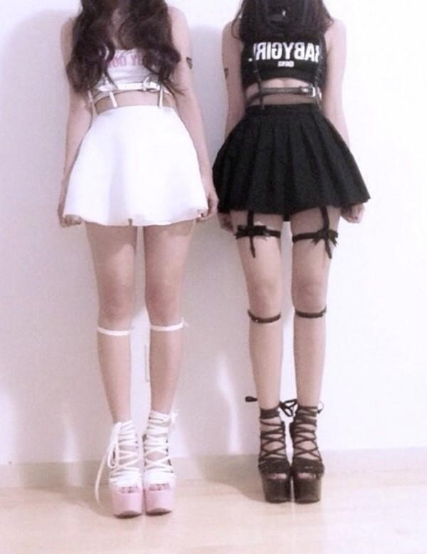 skirt shoes underwear shirt