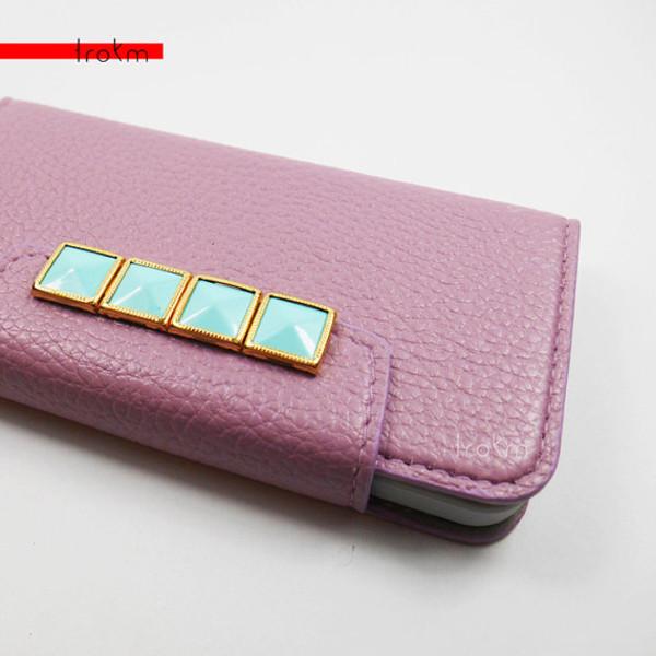 bag mint lavender pastel gold studs phone cover cute phone case iphone 5 case wallet phone case iphone 5 case