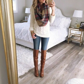 scarf sweater cable knit knitted sweater white autumn boots autumn/winter autumn shoes plaid cream fall outfits boots
