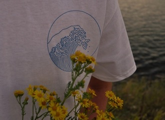 shirt waves white blue print circle