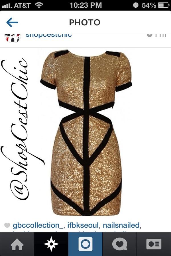 dress gold sequins dress black and gold sequins cut-out dress