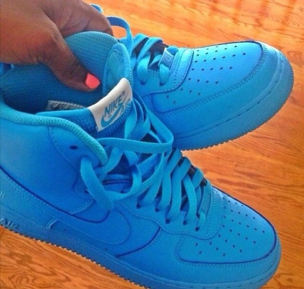 shoes nike air blue sneakers nike air force 1 nike nike air force 1 sneakers earphones nike air force 1 light blue high top nike air force 1 all baby blue air force ones forces af1 sky blue blue shoes high tops swag style spring funny casual nike sneakers
