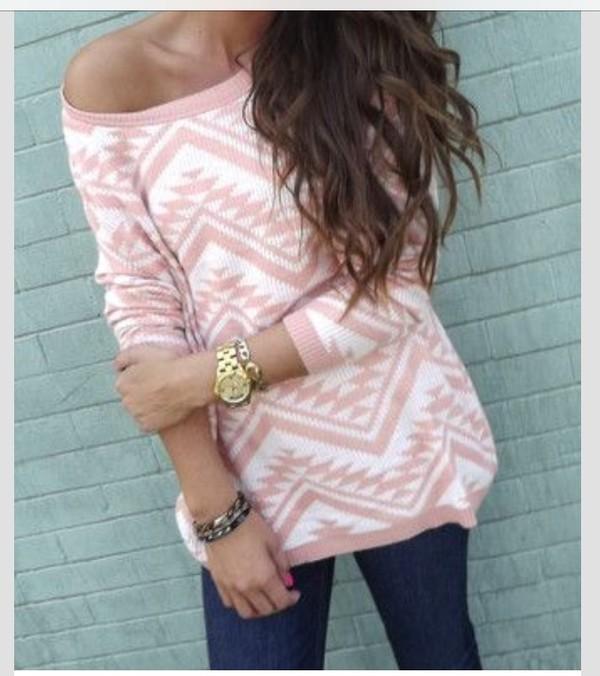 sweater pink aztec
