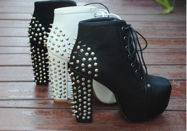 Free shpping women's Boots thick heel boots sexy high heeled pumps Lace Up Stud Spike Punk Block High Heels Ankle Boots Shoes-in Boots from Shoes on Aliexpress.com