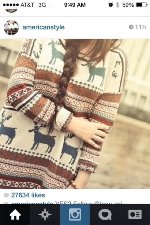 sweater winter sweater indie raindeer inlove