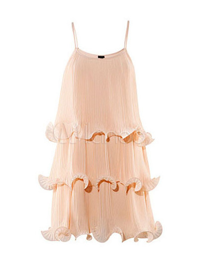 Nude Color Sleeveless Ruffles Chiffon Dress For Woman - Milanoo.com