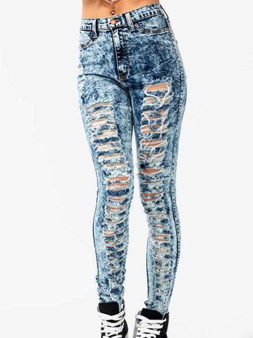 High Waisted Acid Wash Jeans / KayCouture