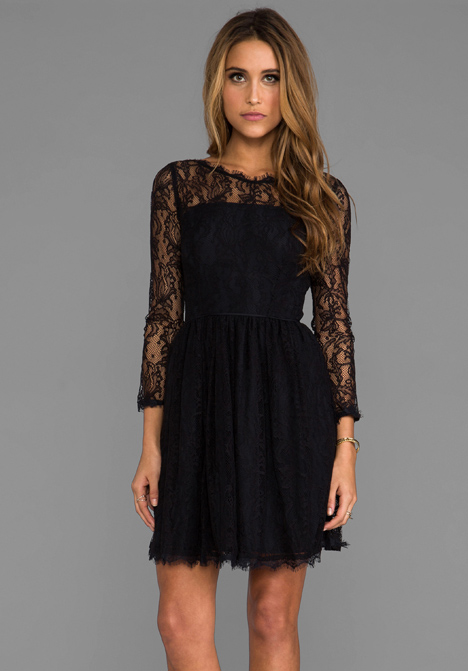 JUICY COUTURE Delicate Lace Dress in Pitch Black - Black Lace