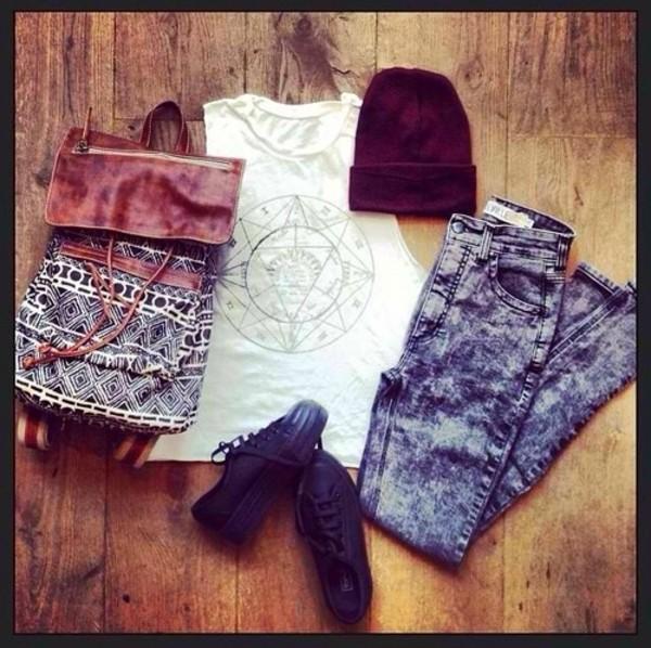 bag shirt hat shoes jeans