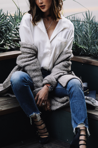 the chriselle factor blogger top jeans cardigan shoes jewels bag white blouse grey cardigan shirt tumblr white shirt necklace jewelry denim blue jeans pumps pointed toe pumps high heel pumps watch