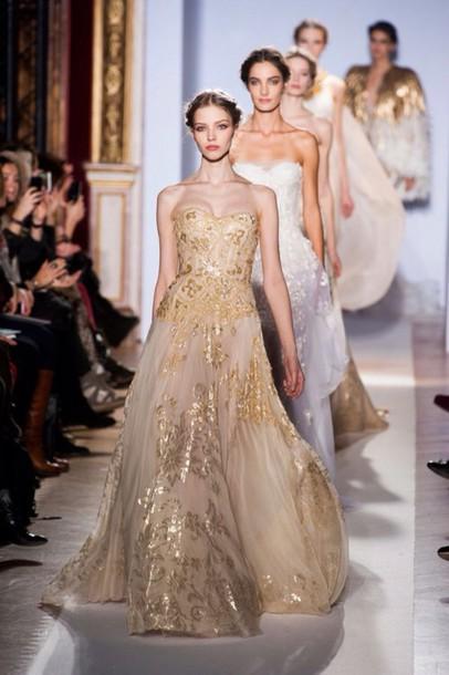 dress long prom dress gold dress