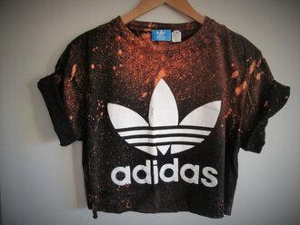 top crop tops adidas t-shirt brown cropped t-shirt