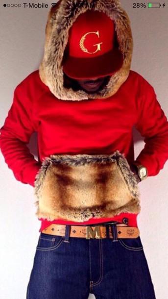 sweater red fur hoodie pockets logo menswear mens sweater black
