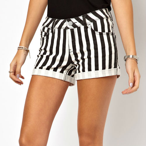 Black And White Striped Shorts Womens