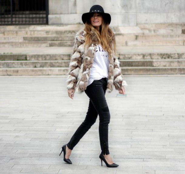 rebel attitude blogger hat celine faux fur jacket