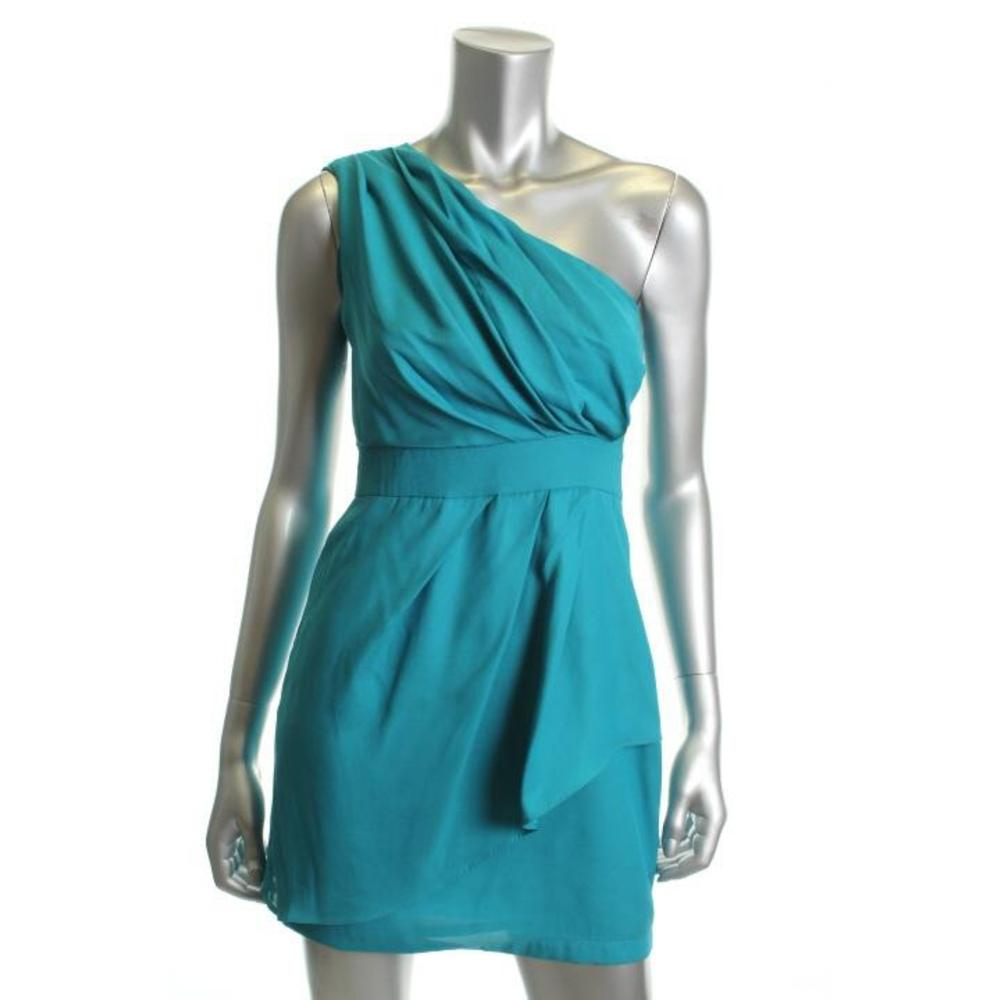 BCBG New Blue Pleated Tiered One Shoulder Cocktail Dress 2 BHFO | eBay