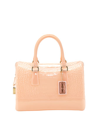 Furla Croc-Print Medium Rubber Satchel Bag, Magnolia
