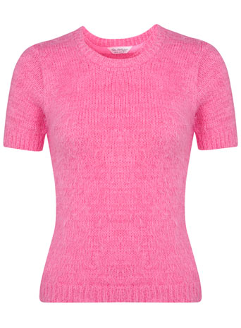 Pink short sleeve fluffy Tee - View All  - New In  - Miss Selfridge
