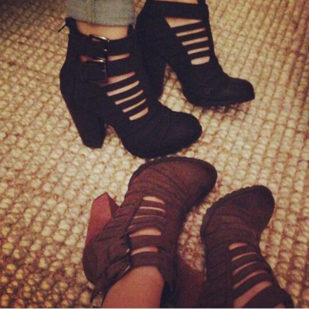 shoes black brown booties steve madden buckles cut-out