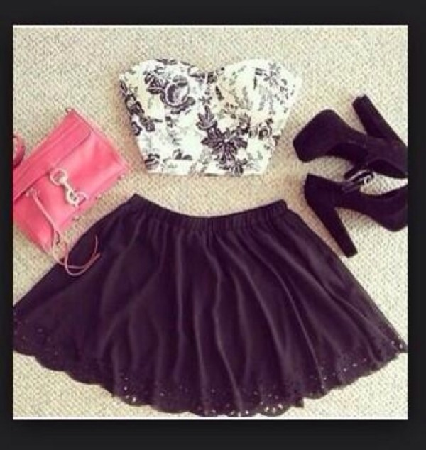 skirt bag shoes tank top