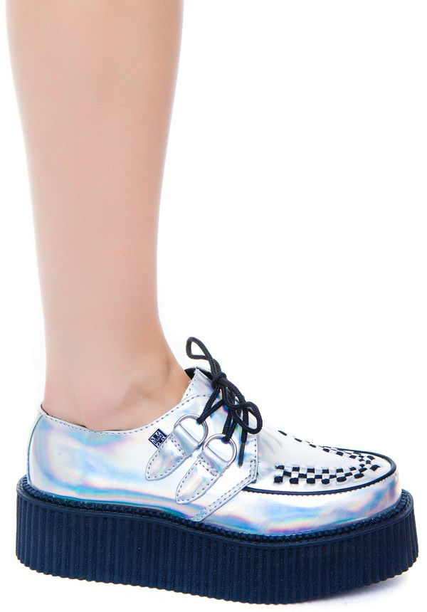shoes iridescent creepers t.u.k platform shoes