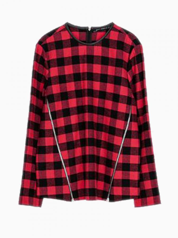 Red Plaid Blouse With Zippers And Leather Tipping | Choies