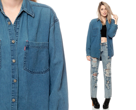 LEVIS Denim Shirt 90s Blue Jean Shirt Levi 1990s Long by ShopExile