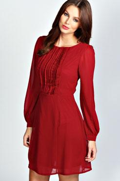 Isabel Long Sleeve Chiffon Fit and Flare Dress at boohoo.com
