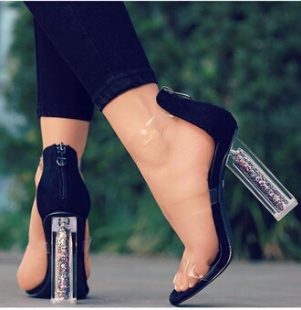 shoes block heel black heels clear heel