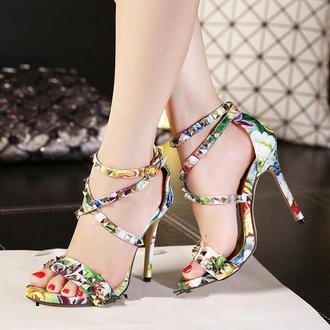 shoes open toes rivet women sandals high heels ankle strap heels stilettos hawaiian