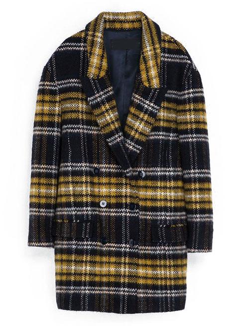 Yellow Navy Long Sleeve Plaid Trench Coat - Sheinside.com
