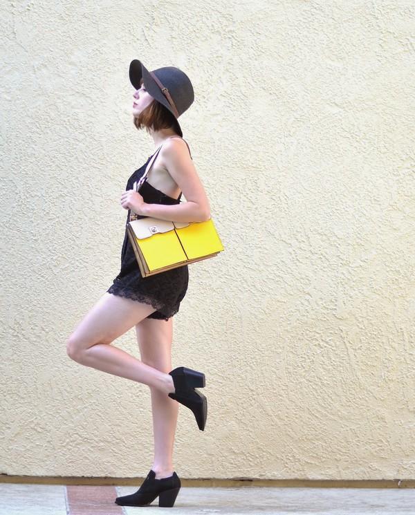 a fashion nerd bag romper shoes hat