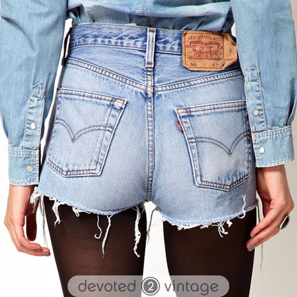 vintage womens levis denim shorts high waisted hotpants. Black Bedroom Furniture Sets. Home Design Ideas